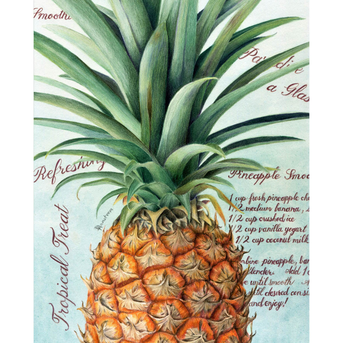 pineapple colored pencil drawing